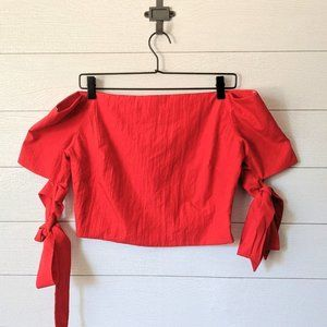 ESSUE Red Off the Shoulder Cropped Top L
